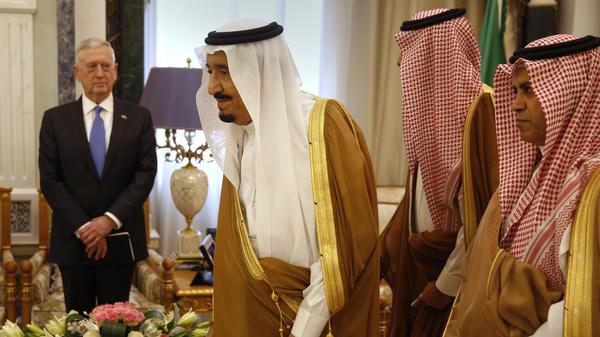 Saudi Arabia's King Salman welcomes U.S. Defense Secretary James Mattis in Riyadh on April 19.