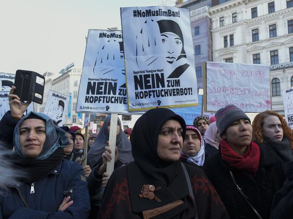 Women in Austria protest in February against a ban on full-face veils. The measure was approved by the government on Tuesday.