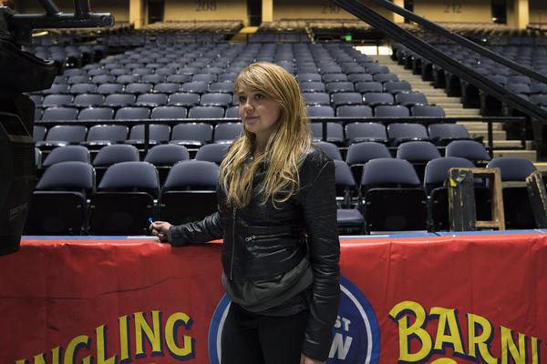 """Lorelei Owens is the head of pyrotechnics for the show. She used to perform in a sideshow, and finished her college degree while she was traveling with a small circus. The end of the Ringling Bros. is """"heartbreaking,"""" she says. """"That's the first word that comes to mind."""""""