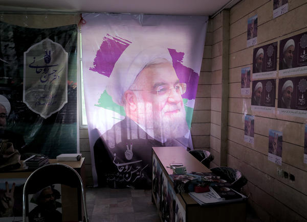 A portrait of Iranian president Hassan Rouhani hangs in a campaign office in Tehran. Iranians vote today on whether to give another four years to the president who made a nuclear deal with the U.S.