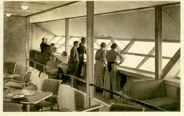 Hindenburg's passenger quarters featured observation windows on both the port and starboard sides that opened for fresh air and taking photographs.