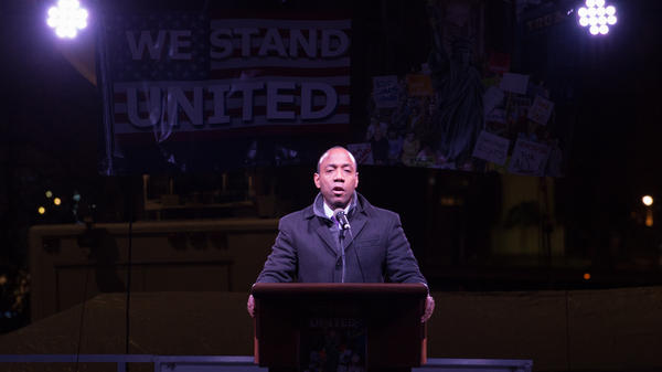 NAACP President Cornell Brooks speaks on the eve of President Trump's inauguration outside Trump International Hotel and Tower in New York on Jan. 19. After three years under Brooks' leadership, NAACP is looking for a new president.