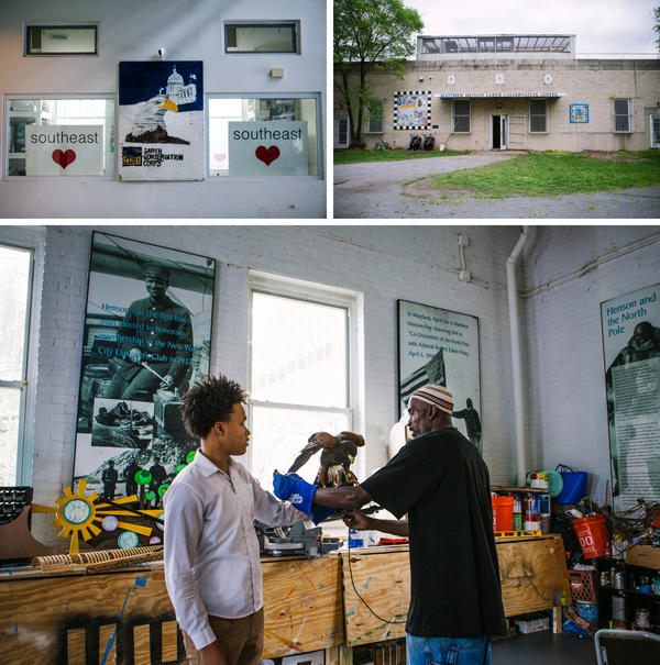 (Top) The Matthew Henson Earth Conservation Center along the Anacostia River is named in honor of the first African-American explorer to reach the North Pole. The ECC hosts events for local kids here. (Bottom) Rodney Stotts shows one of his hawks, Petunia, to students like Anthony Price, 15, to help them face fears.