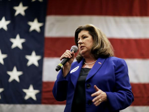 Republican candidate Karen Handel speaks at a campaign event where she was joined by House Speaker Paul Ryan in Dunwoody, Ga., on May 15, 2017.