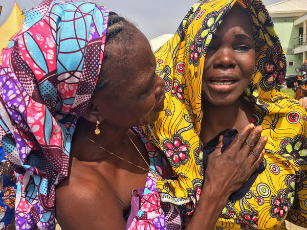 Tears were streaming down the faces of the former Chibok schoolgirls but soon gave way to broad smiles of happiness and relief.