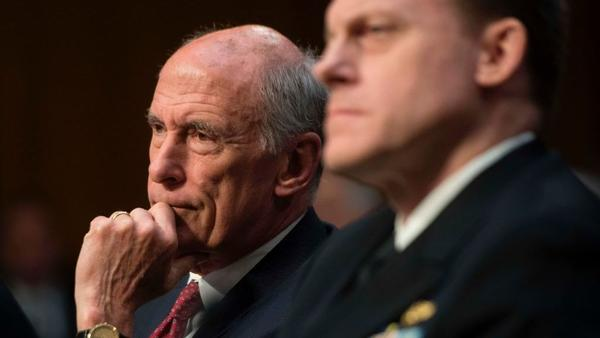 Director of National Intelligence Dan Coats and National Security Agency Director Adm. Mike Rogers testify before the Senate Intelligence Committee earlier this month.