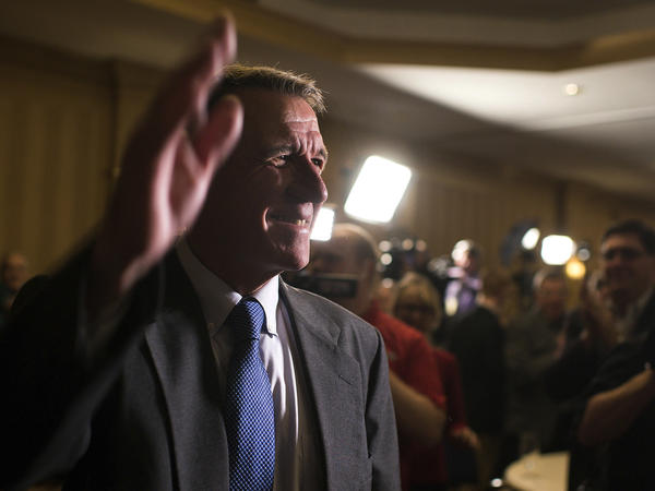 Republican Governor Phil Scott announced Wednesday he would veto the Vermont legislature's bill to legalize recreational marijuana. Above, the governor waves to supporters on election night in November.