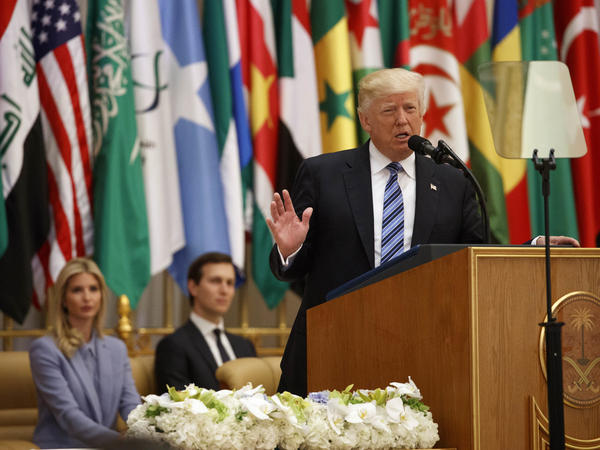 President Trump delivers a speech to the Arab Islamic American Summit at the King Abdulaziz Conference Center on Sunday in Riyadh, Saudi Arabia.
