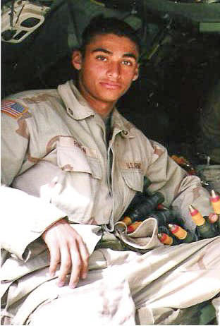 Army Pfc. Diego Rincon during his time in Iraq in 2003.