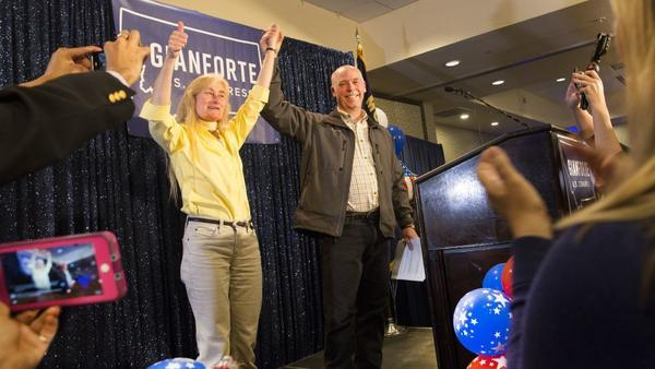 Republican Greg Gianforte celebrates with supporters at the Hilton Garden Inn in Bozeman, Mont., on Thursday after being declared the winner of Montana's special House election.