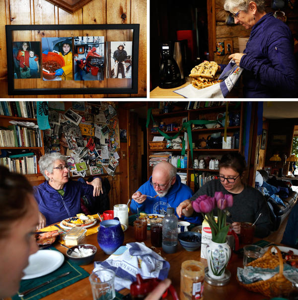 Brunch is served — including homemade sourdough waffles —  at the Wilbers' house in Sitka.