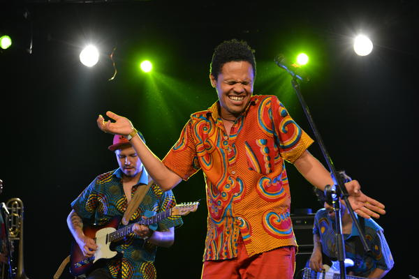 The Colombian Afrobeat orchestra La BOA performs at the 2017 FIMPRO music festival in Guadalajara, Mexico.