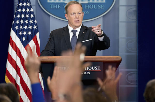 White House press secretary Sean Spicer calls on a member of the media during the daily press briefing at the White House on Tuesday.