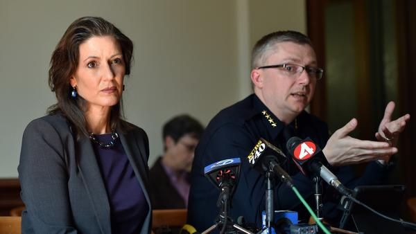 Oakland Mayor Libby Schaaf and then-Police Chief Sean Whent in May 2015. Whent resigned in June 2016 amid fallout from a scandal involving officers accused of having sex with an underage girl. The city will pay a settlement of nearly $1 million to the young woman.