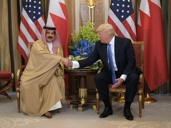 "President Trump and Bahrain's King Hamad bin Isa al-Khalifa met in Riyadh on May 21. ""Our countries have a wonderful relationship together, but there has been a little strain, but there won't be strain with this administration,"" Trump said."