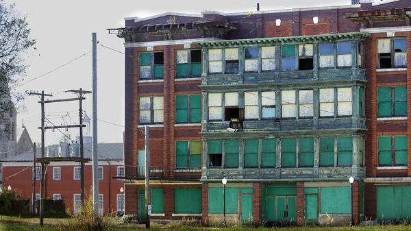 Abandoned buildings dominate downtown in Cairo, Ill.
