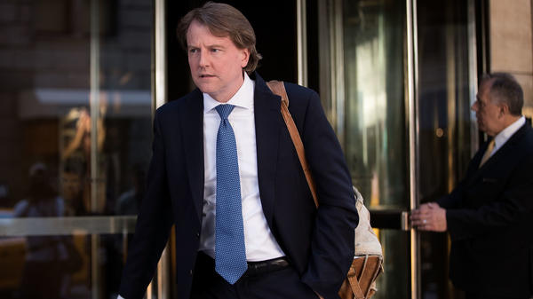 Don McGahn, lawyer for Donald Trump and his campaign, leaves the Four Seasons Hotel after a meeting with Trump and Republican donors on June 9, 2016, in New York City.
