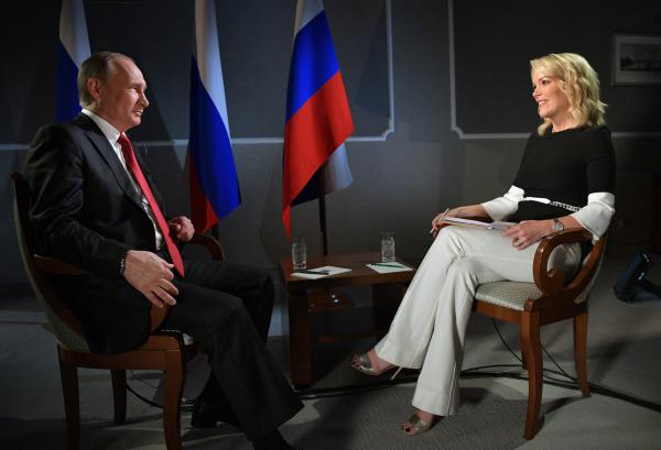 Russian President Vladimir Putin speaks with Megyn Kelly in the debut broadcast of NBC News' <em>Sunday Night with Megyn Kelly</em>. Kelly interviewed Putin in St. Petersburg, Russia.