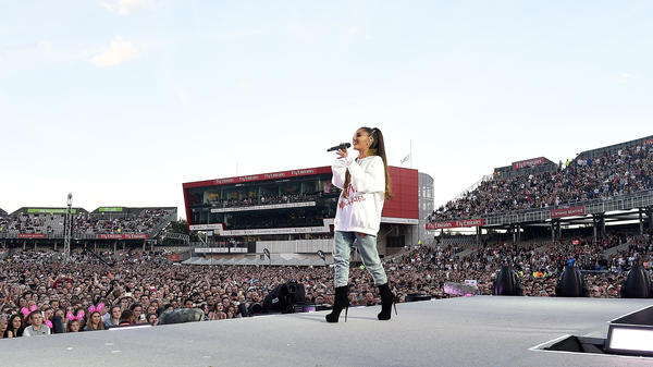 Ariana Grande during the One Love Manchester Benefit Concert at Old Trafford Cricket Ground on June 4, 2017.