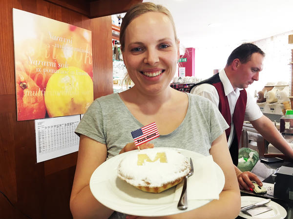 """Maja Kozole Popadic, whose family runs the Kruhek bakery in Sevnica, makes an American-style apple pie that uses a local variety of Slovenian apples. Officially called First Lady Apple Pie, it's decorated with an M. """"Some people buy it because it can also mean Mom,"""" Popadic says."""