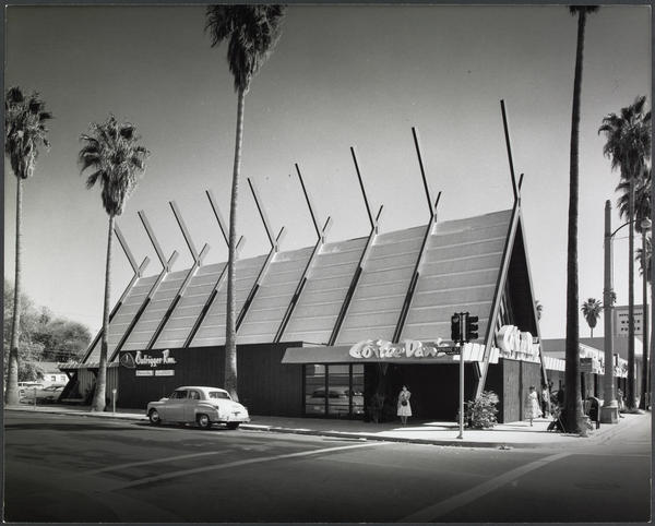 While best known for his residential architecture, Krisel also worked on commercial projects. He designed this Los Angeles building, home to Coffee Dan's Coffee Shop, shown in 1958.