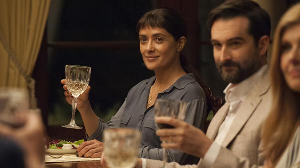 Beatriz (Salma Hayek) and Alex (Jay Duplass) in <em>Beatriz at Dinner.</em>
