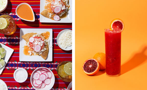 "(Left) Tacos de Papa. (Right) ""El Vampiro,"" a blood orange mezcal margarita."