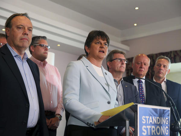 Democratic Unionist Party leader Arlene Foster speaks at a press conference in Belfast, Northern Ireland, on Friday. Prime Minister Theresa May says she's forming an alliance with the Democratic Unionist Party to stay in power.