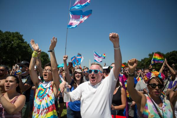 Michael J. Cooper, center, of Arlington, Va., cheers alongside a vast crowd of other demonstrators on the National Mall in Washington, D.C., during the Equality March on Sunday, June 11.