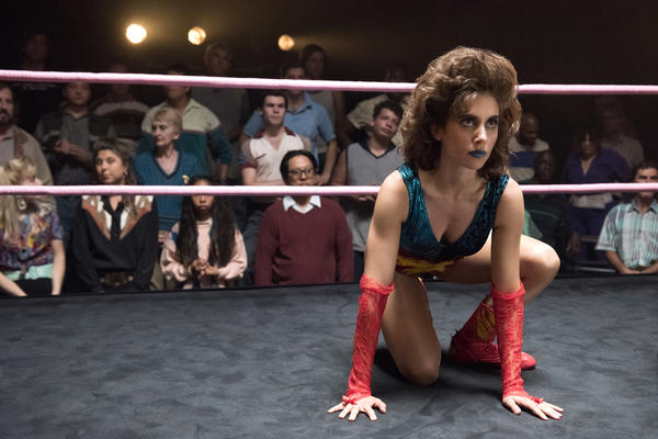 Alison Brie stars in Netflix's <em>GLOW</em>, a fictionalized take on the story behind the Gorgeous Ladies of Wrestling league.