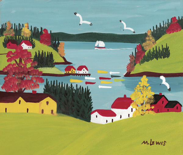 Maud Lewis, who never had any formal art training, painted the scenes she saw around her home in Nova Scotia. She painted <em>Coastal Scene with Gulls </em>on particleboard in the 1960s.