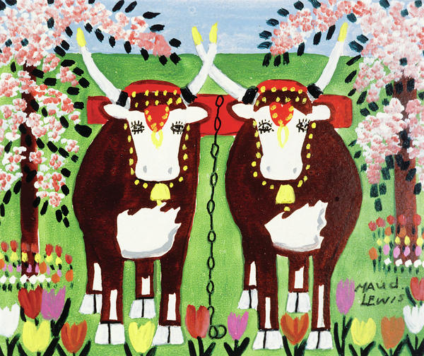 Lewis' <em>Oxen in Spring </em>was painted on pulpboard in the 1960s.