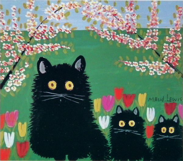 Lewis painted<em> Three black cats</em> on pulpboard in 1955.