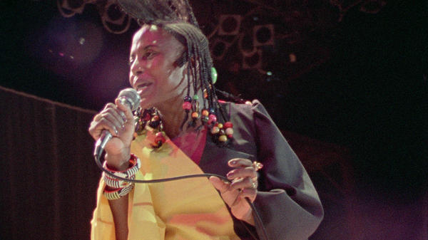 South African legend Miriam Makeba performing at Zaire 74. The performances of the African artists on the 1974 music festival's lineup have been unearthed for a new live album.