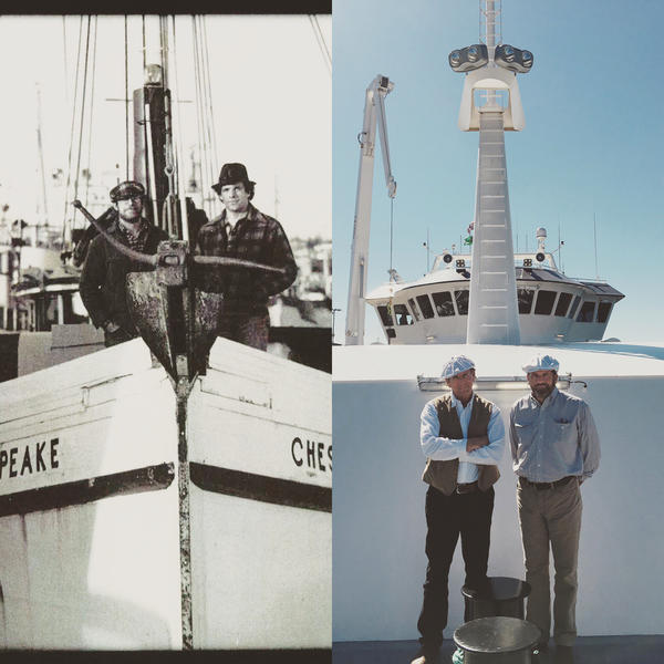 """Brothers Michael (on the left in both photos) and Patrick Burns have spent decades as fishermen. But the inspiration for their humanely harvested seafood didn't come from the ocean. It came from their side business — a grass-fed<a href=""""https://anchorbeef.com/""""> cattle ranch</a> — and from their deep admiration for scientist Temple Grandin and her advocacy of animal welfare and humane slaughter."""