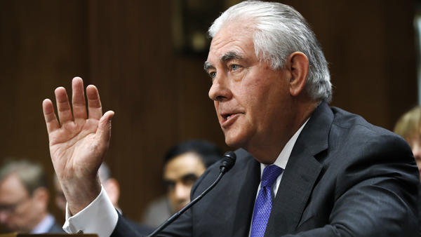 Secretary of State Rex Tillerson testifies on Capitol Hill on Tuesday before the Senate Foreign Relations Committee.