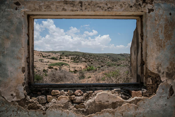 Somalia's arid landscape as seen from inside a decaying colonial building in the northwest town of Sheikh.