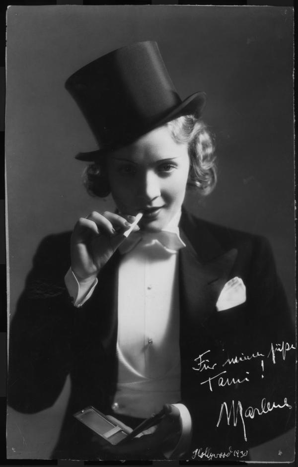 Marlene Dietrich in a publicity photo for the film <em>Morocco</em> (1930), in which she plays a cabaret singer who falls in love with a legionnaire.