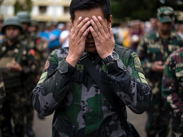 A Philippine soldier at an Independence Day ceremony Monday in Marawi.