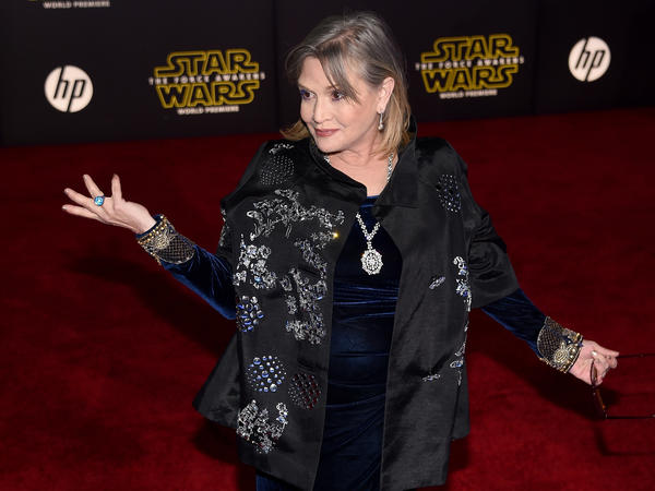 Actress Carrie Fisher attends the December 2015 premiere of <em>Star Wars: The Force Awakens</em> at the Dolby Theatre in Hollywood, Calif.