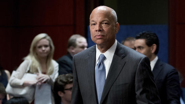 Former Department of Homeland Security Secretary Jeh Johnson arrives to testify before the House Intelligence Committee on Wednesday.