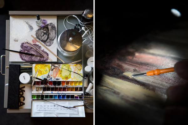 Head of painting conservation Jay Krueger's restoration supplies as seen at work station, left, while intern Kathryn Harada carefully removes layers from Jean-Baptiste-Camille Corot's <em>Gypsy Girl with Mandolin</em>, c. 1870.