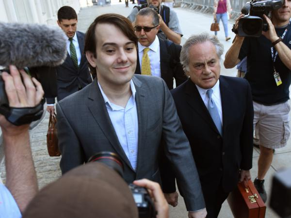 Martin Shkreli, the former Turing Pharmaceuticals executive, arrives for the first day of jury selection in his federal securities fraud trial Monday at U.S. District Court in Brooklyn, N.Y.