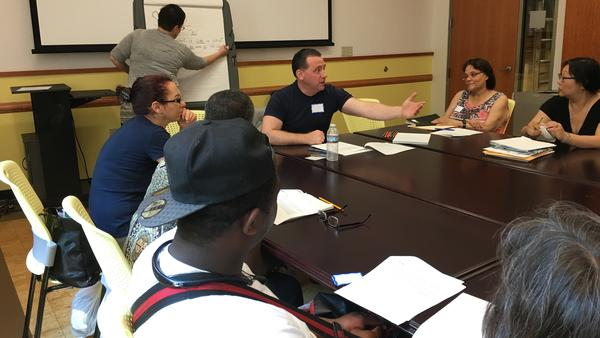 Poet Dave Johnson is one of the teachers of an 8-week memoir writing class at the Brooklyn Central Library.