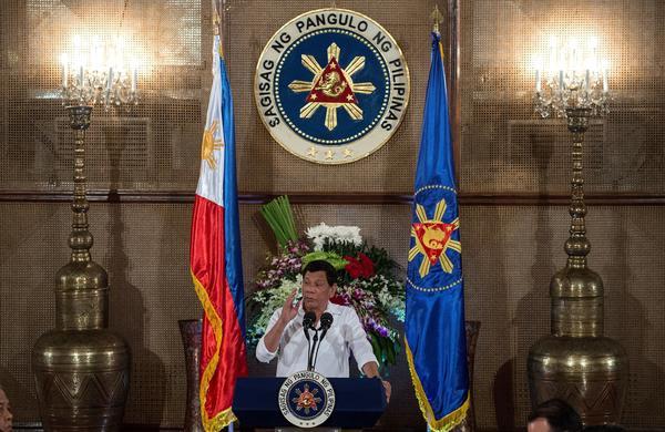 Philippine President Rodrigo Duterte gives a speech during Eid al-Fitr celebrations marking the end of Ramadan at the Malacanang Palace in Manila on June 27.