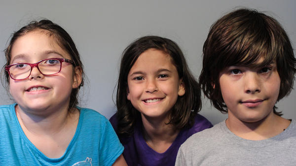 Zoë, Maddy and Nick Waters, 10-year-old triplets from Bloomington, Ind.
