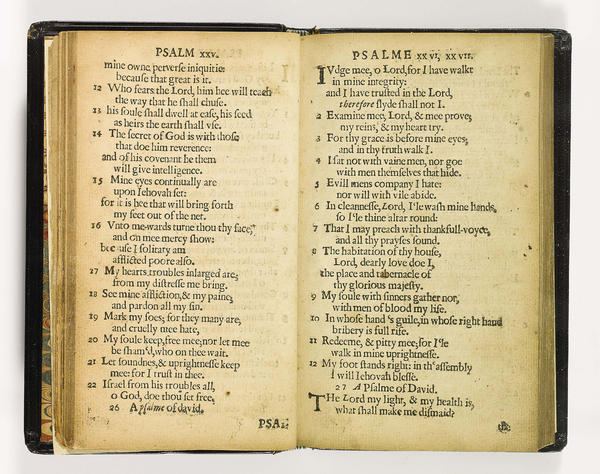 The Bay Psalm Book, also known as <em>The Whole Booke of Psalmes Faithfully Translated into English Metre</em>, was the first hymnal printed in America, 1640.
