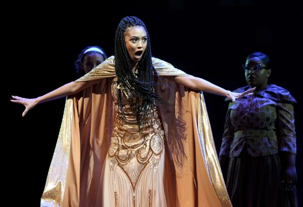 Jasmine Rogers performs a number as the Witch from <em>Into the Wood</em>s.