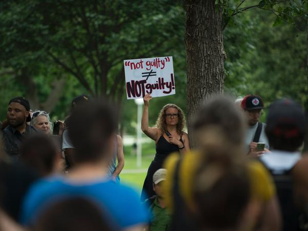 Protesters gather in Loring Park on July 17, 2017 in Minneapolis. Demonstrations took place for several days after a jury acquitted police officer Jeronimo Yanez, 29, in the shooting death of 32-year-old Philando Castile during a traffic stop in July 2016.