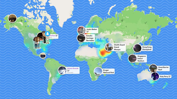 Snapchat users can upload photos and videos onto the new Snap Map. When a topic is trending, it'll pop up on a heat map. The image above is a composite of Snapchat screen grabs.